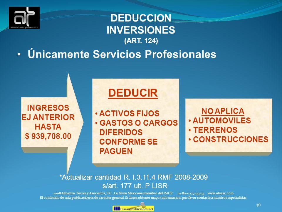 36 DEDUCCION INVERSIONES (ART. 124) Únicamente Servicios Profesionales INGRESOS EJ ANTERIOR HASTA $ 939,708.00 DEDUCIR ACTIVOS FIJOS GASTOS O CARGOS D