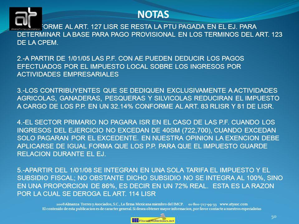 50 2008 Almanza Torres y Asociados, S.C., La firma Mexicana miembro del IMCP. 01-800-727-99-33 www.atyasc.com El contenido de esta publicacion es de c