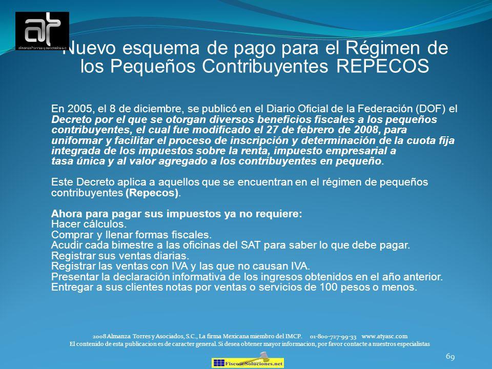 69 Nuevo esquema de pago para el Régimen de los Pequeños Contribuyentes REPECOS En 2005, el 8 de diciembre, se publicó en el Diario Oficial de la Fede