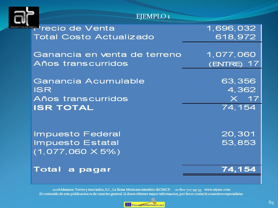 89 EJEMPLO 1 2008 Almanza Torres y Asociados, S.C., La firma Mexicana miembro del IMCP. 01-800-727-99-33 www.atyasc.com El contenido de esta publicaci