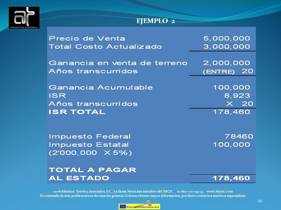 91 EJEMPLO 2 2008 Almanza Torres y Asociados, S.C., La firma Mexicana miembro del IMCP. 01-800-727-99-33 www.atyasc.com El contenido de esta publicaci