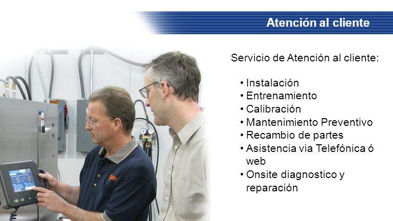 Atención al cliente Servicio de Atención al cliente: Instalación Entrenamiento Calibración Mantenimiento Preventivo Recambio de partes Asistencia via