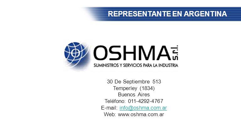 REPRESENTANTE EN ARGENTINA 30 De Septiembre 513 Temperley (1834) Buenos Aires Teléfono: 011-4292-4767 E-mail: info@oshma.com.arinfo@oshma.com.ar Web: