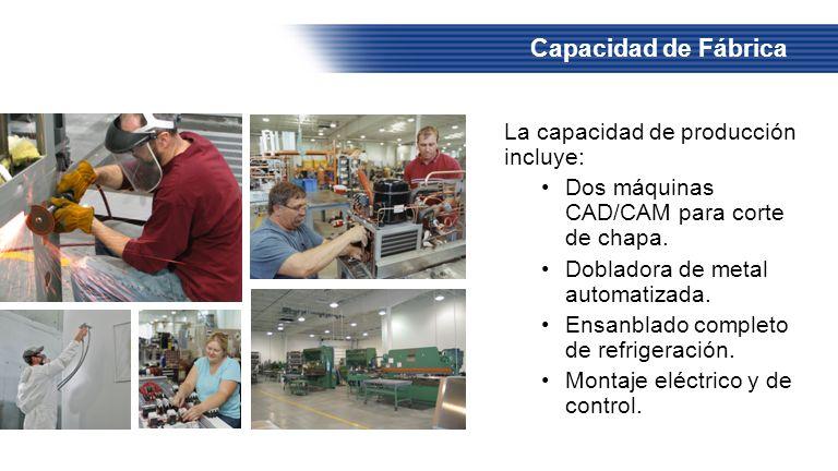 Capacidad de Fábrica La capacidad de producción incluye: Dos máquinas CAD/CAM para corte de chapa. Dobladora de metal automatizada. Ensanblado complet