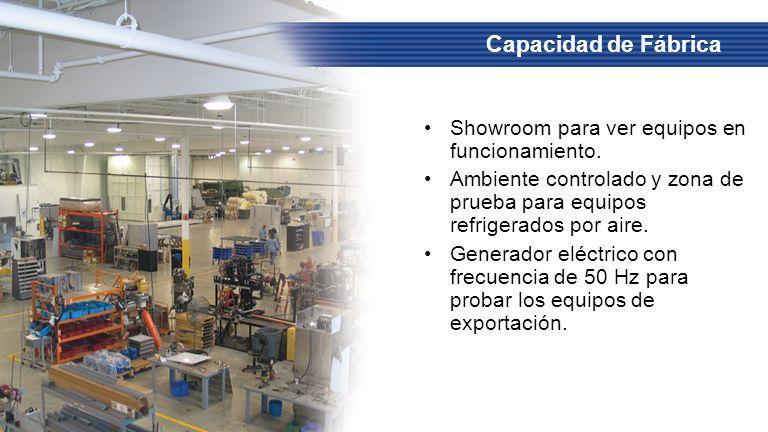Showroom para ver equipos en funcionamiento. Ambiente controlado y zona de prueba para equipos refrigerados por aire. Generador eléctrico con frecuenc