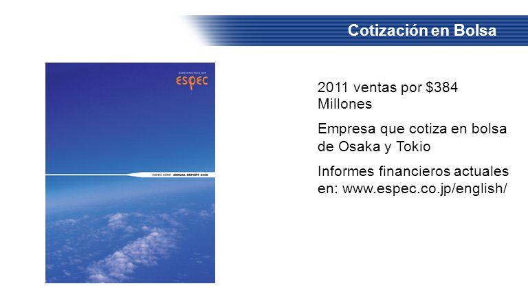 Cotización en Bolsa 2011 ventas por $384 Millones Empresa que cotiza en bolsa de Osaka y Tokio Informes financieros actuales en: www.espec.co.jp/engli