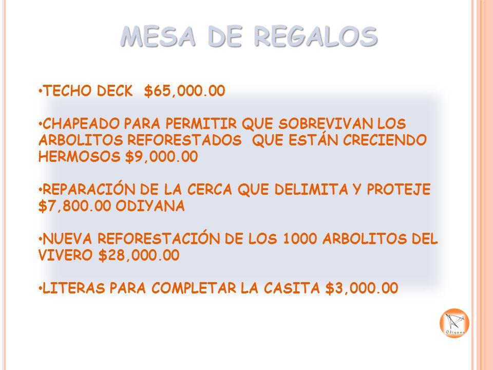 MESA DE REGALOS TECHO DECK $65,000.00 CHAPEADO PARA PERMITIR QUE SOBREVIVAN LOS ARBOLITOS REFORESTADOS QUE ESTÁN CRECIENDO HERMOSOS $9,000.00 REPARACI