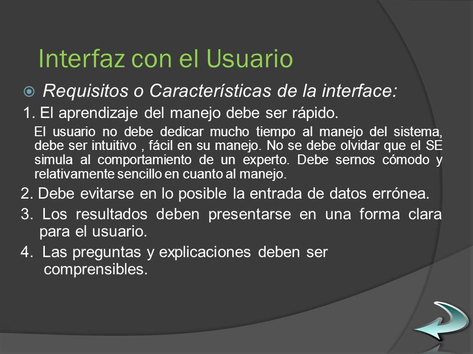 Interfaz con el Usuario Requisitos o Características de la interface: 1.