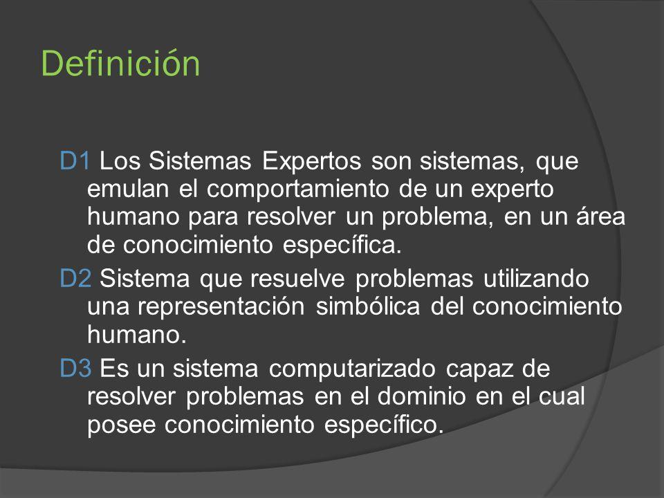 Definición D1 Los Sistemas Expertos son sistemas, que emulan el comportamiento de un experto humano para resolver un problema, en un área de conocimiento específica.