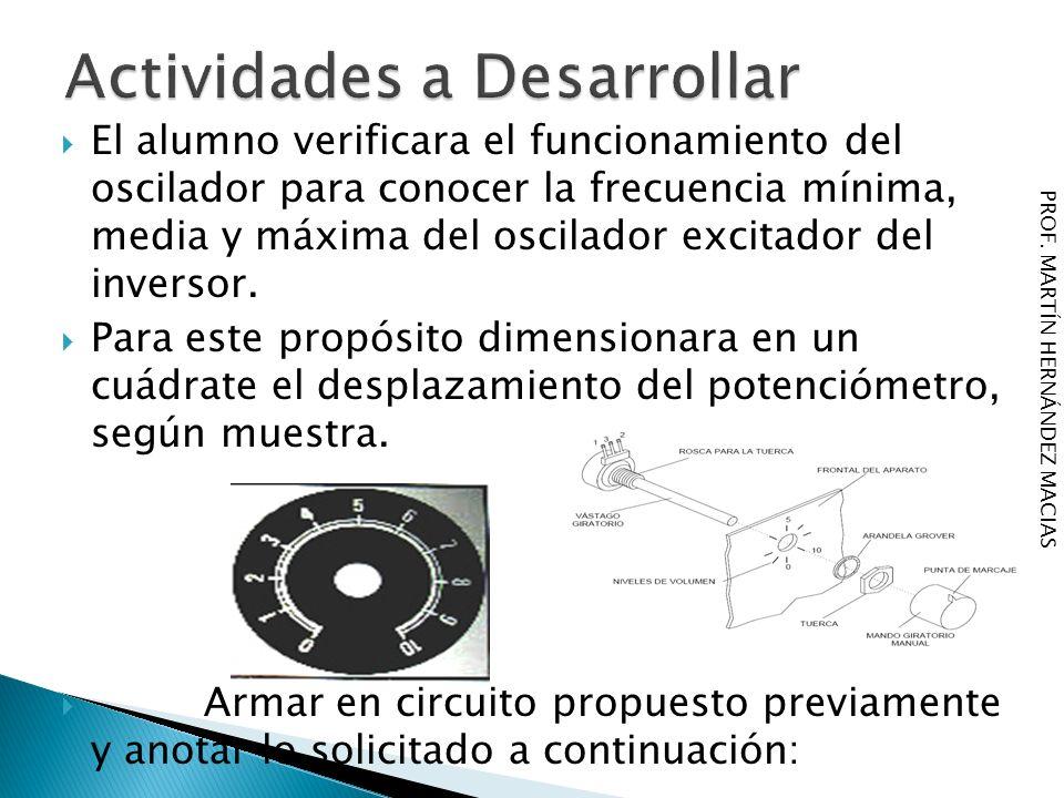 El alumno verificara el funcionamiento del oscilador para conocer la frecuencia mínima, media y máxima del oscilador excitador del inversor. Para este