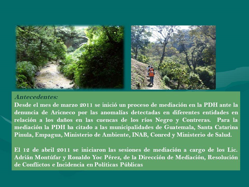 Actividades Urgentes Solicitadas: Como resultado de la primera reunión de mediación, Aricneco elaboró un listado de actividades urgentes para la preservación de las cuencas, que se resumen en los puntos siguientes: Protección Física en las cuencas Catastro Listado de Infractores Limpieza, Saneamiento y Renaturalización Parar contaminación Marco Jurídico – Leyes y Reglamentos Remoción de Obstáculos Artificiales Colector K10-13-14 y drenajes Proyecto Bosques de Vista Hermosa Estudio de Impacto Ambiental de la Microcuenca Reforestación Desarrollo en el Sectór – Recarga Acuífera Prevención de Desastres en Asentamientos