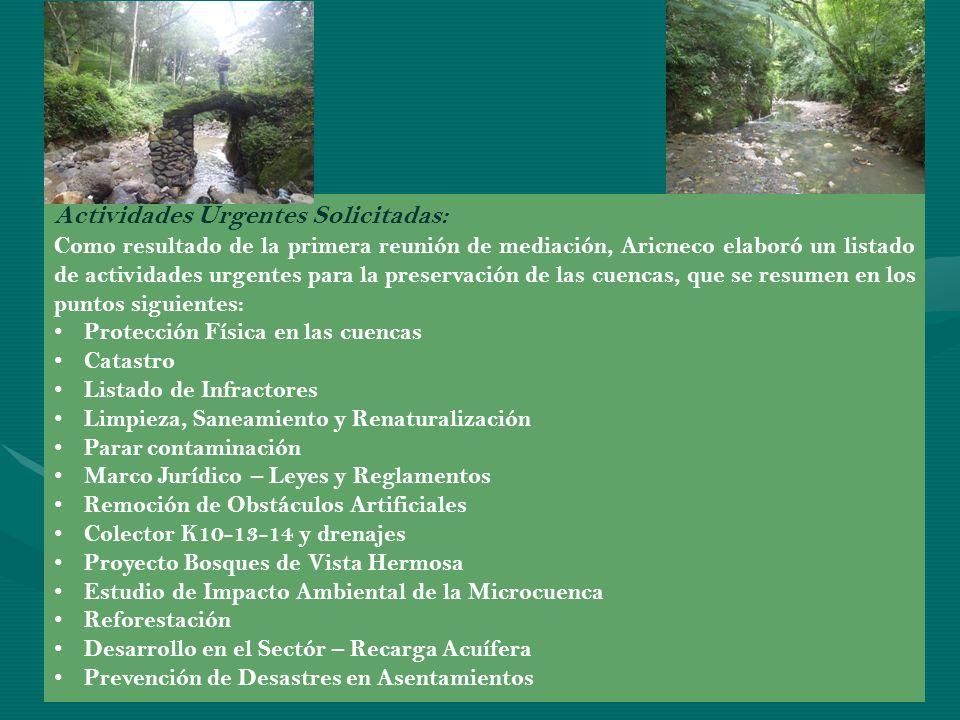 Avances a la fecha: Protección Física en las cuencas Se solicitó a las Municipalidades de Guate, SCP, y a Empagua la colocación de gaviones y otros tipos de protecciones a los taludes en las áreas de riesgo de las cuencas y la reparación de tuberías de drenaje rotas que tributan a las cuencas.