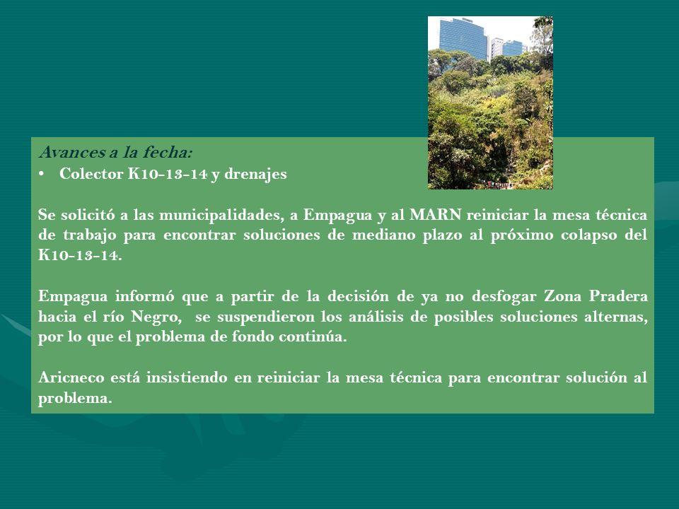 Avances a la fecha: Proyecto Bosques de Vista Hermosa Se solicitó a Muniguate, MARN e INAB la revisión del proyecto para verificar el cumplimiento de normas y evitar la tala de bosque y el entubado del río Negro.