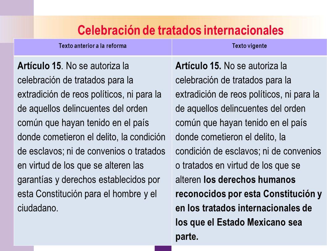 10 Celebración de tratados internacionales Texto anterior a la reformaTexto vigente Artículo 15.