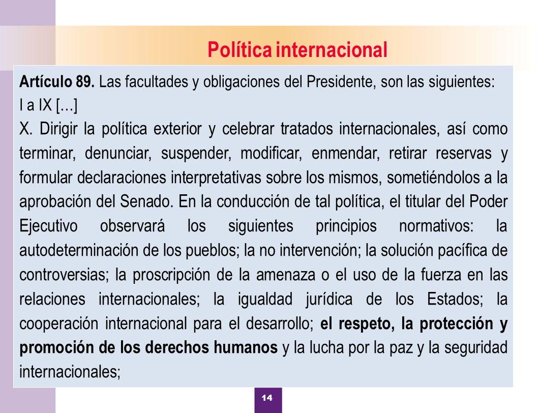 15 Política internacional Artículo 89.