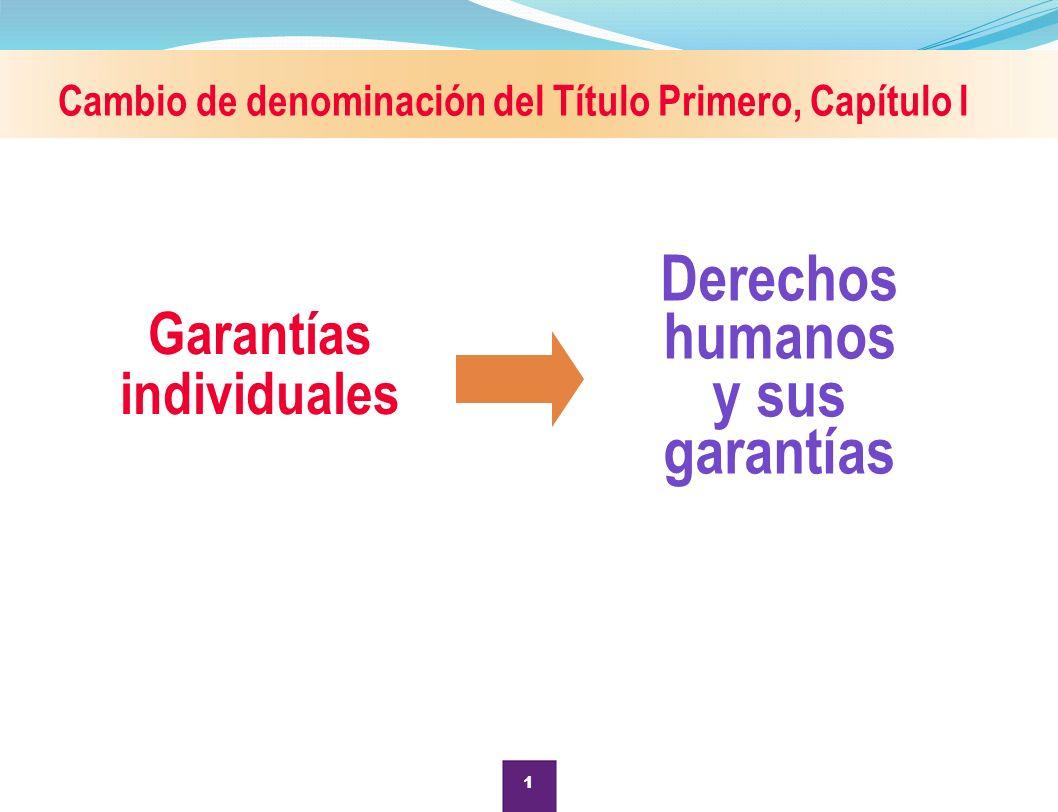 Cambio de denominación del Título Primero, Capítulo I Garantías individuales Derechos humanos y sus garantías 1