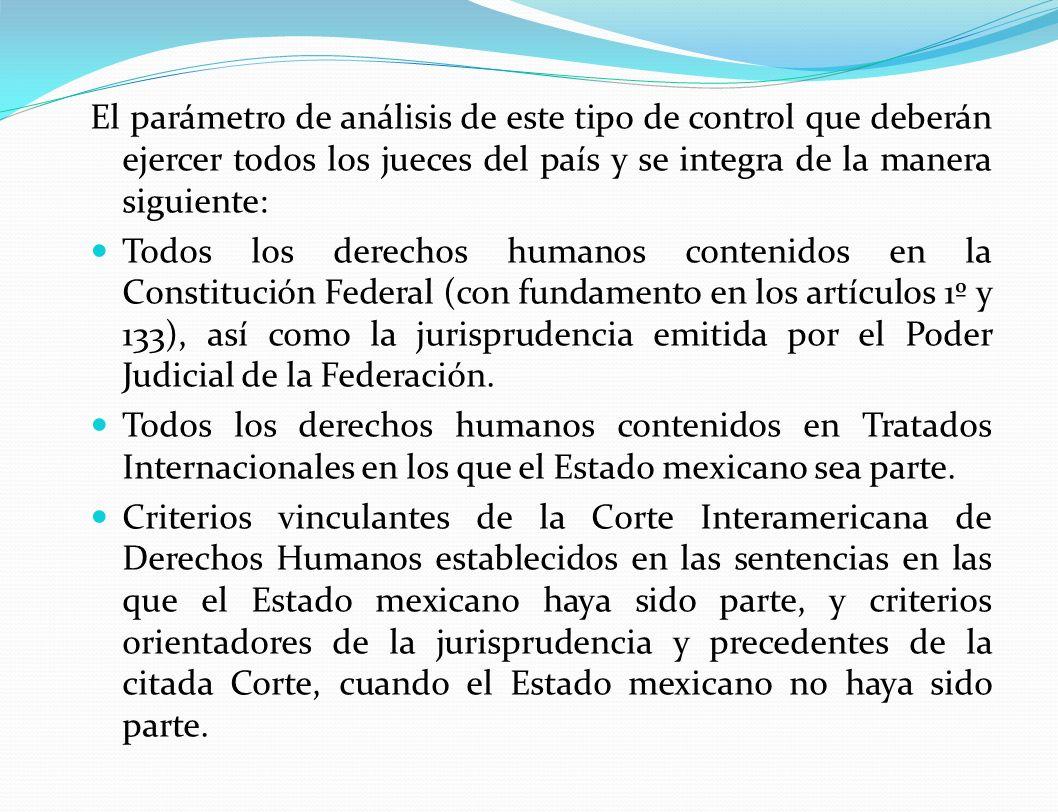 El parámetro de análisis de este tipo de control que deberán ejercer todos los jueces del país y se integra de la manera siguiente: Todos los derechos humanos contenidos en la Constitución Federal (con fundamento en los artículos 1º y 133), así como la jurisprudencia emitida por el Poder Judicial de la Federación.