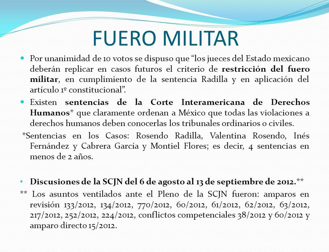 FUERO MILITAR Por unanimidad de 10 votos se dispuso que los jueces del Estado mexicano deberán replicar en casos futuros el criterio de restricción del fuero militar, en cumplimiento de la sentencia Radilla y en aplicación del artículo 1º constitucional.