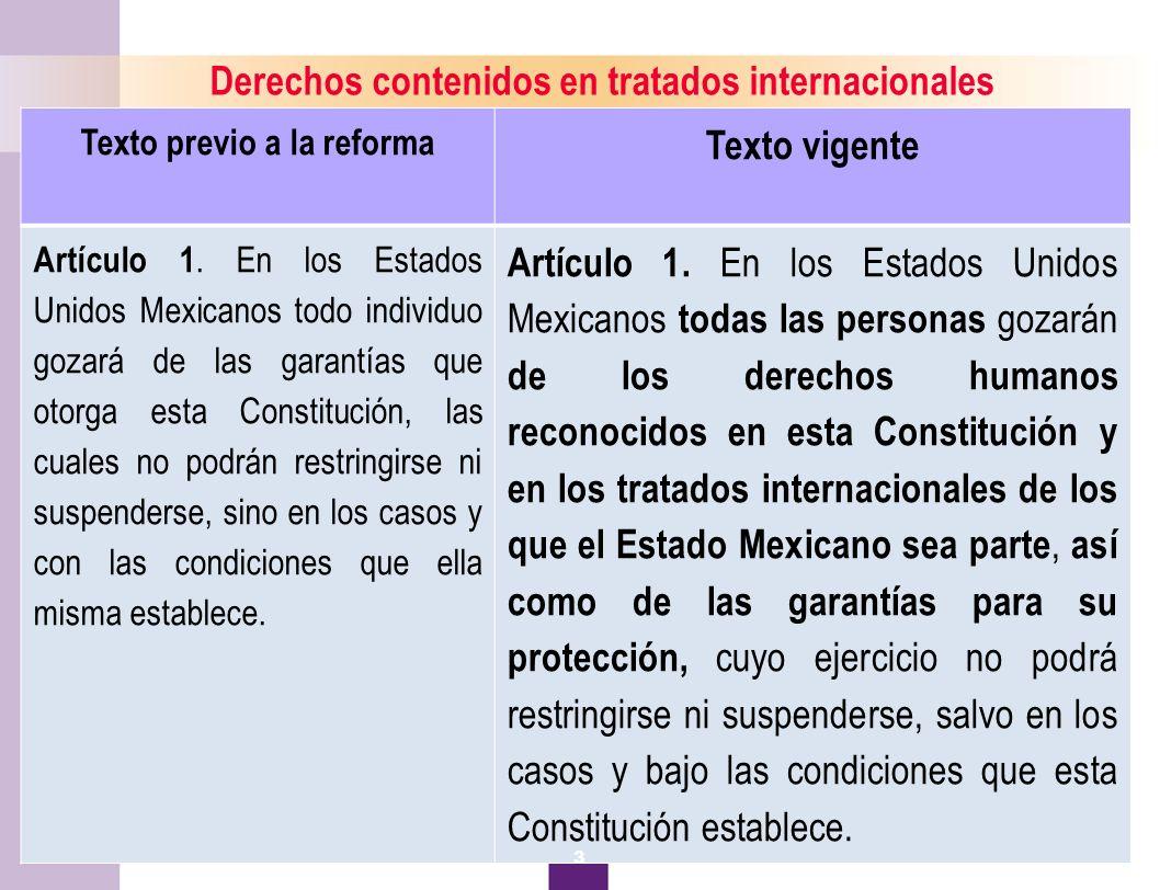 4 Derechos contenidos en tratados internacionales Texto previo a la reforma Texto vigente Artículo 1.