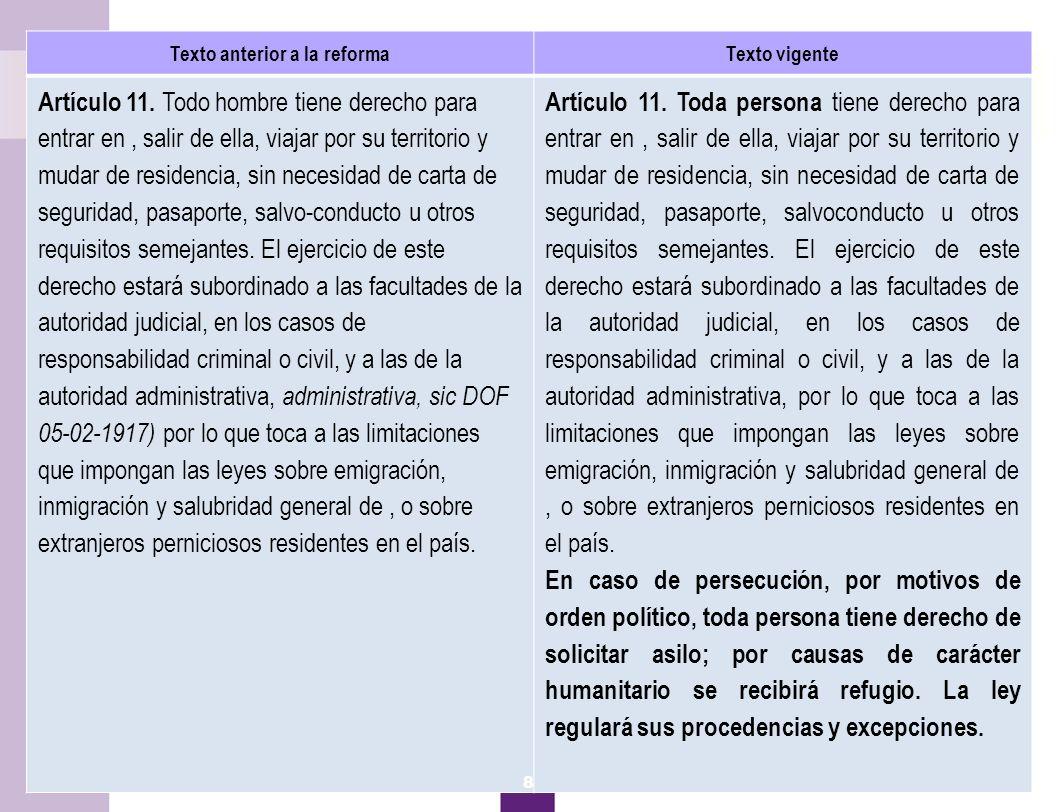 9 Asilo y refugio Texto anterior a la reformaTexto vigente Artículo 11.