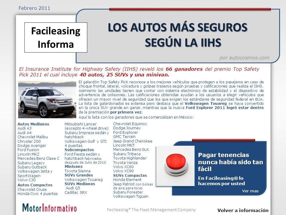 El galardón Top Safety Pick reconoce a los mejores vehículos que protegen a los pasajeros en caso de choque frontal, lateral, volcadura y golpes traseros según pruebas y calificaciones que realiza el IIHS.
