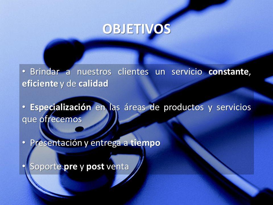 OBJETIVOS Brindar a nuestros clientes un servicio constante, eficiente y de calidad Brindar a nuestros clientes un servicio constante, eficiente y de