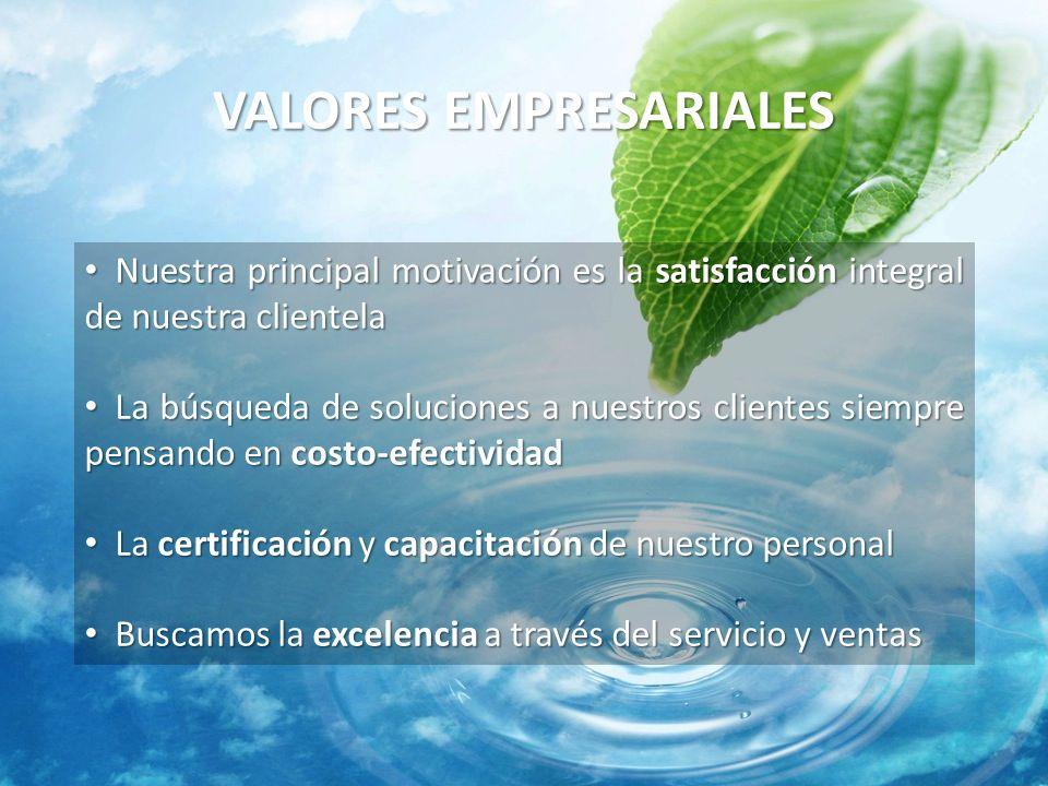 VALORES EMPRESARIALES Nuestra principal motivación es la satisfacción integral de nuestra clientela Nuestra principal motivación es la satisfacción in