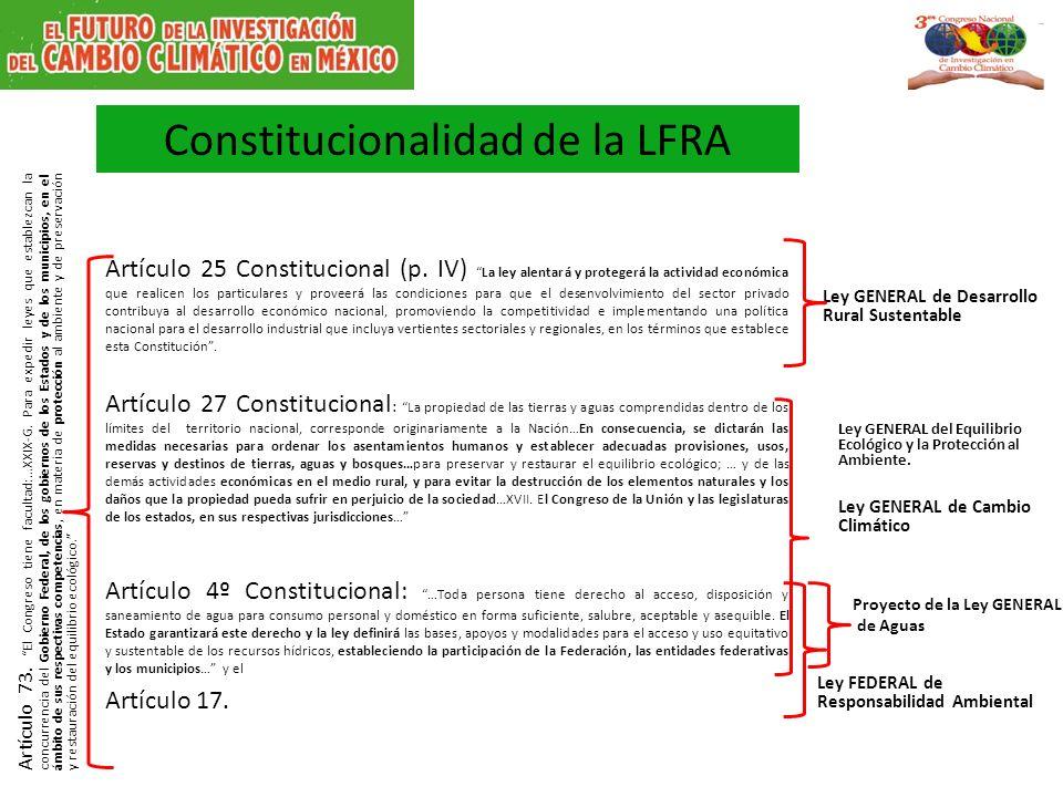 Constitucionalidad de la LFRA Artículo 25 Constitucional (p. IV)La ley alentará y protegerá la actividad económica que realicen los particulares y pro