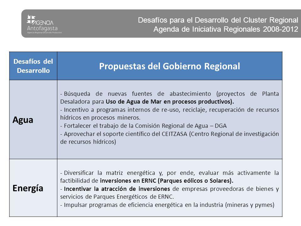 Desafíos del Desarrollo Propuestas del Gobierno Regional Agua - Búsqueda de nuevas fuentes de abastecimiento (proyectos de Planta Desaladora para Uso de Agua de Mar en procesos productivos).