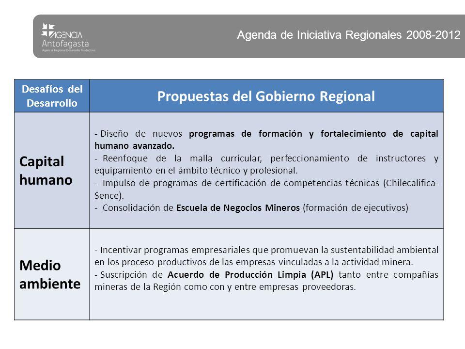 Desafíos del Desarrollo Propuestas del Gobierno Regional Capital humano - Diseño de nuevos programas de formación y fortalecimiento de capital humano