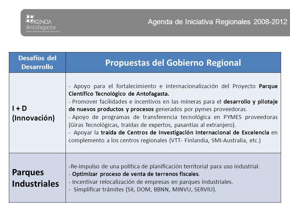 Desafíos del Desarrollo Propuestas del Gobierno Regional I + D (Innovación) - Apoyo para el fortalecimiento e internacionalización del Proyecto Parque
