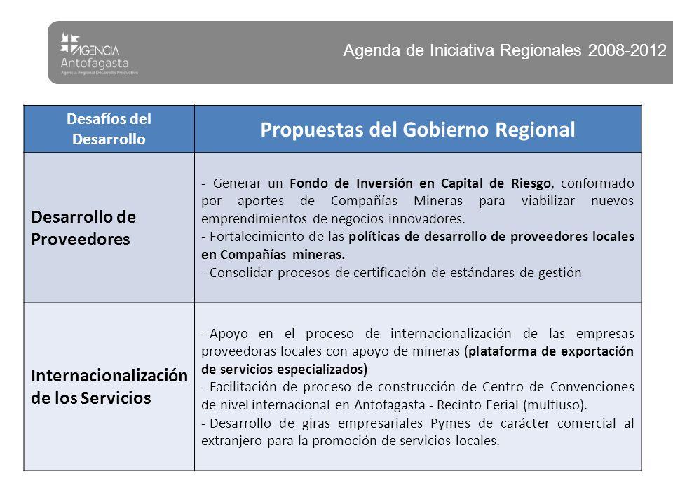 Desafíos del Desarrollo Propuestas del Gobierno Regional Desarrollo de Proveedores - Generar un Fondo de Inversión en Capital de Riesgo, conformado por aportes de Compañías Mineras para viabilizar nuevos emprendimientos de negocios innovadores.