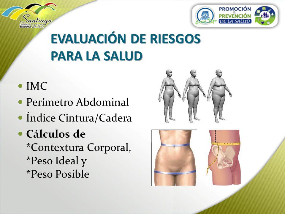 Índice de Masa Corporal (IMC) Es una medida de asociación entre el peso y la altura de un individuo.