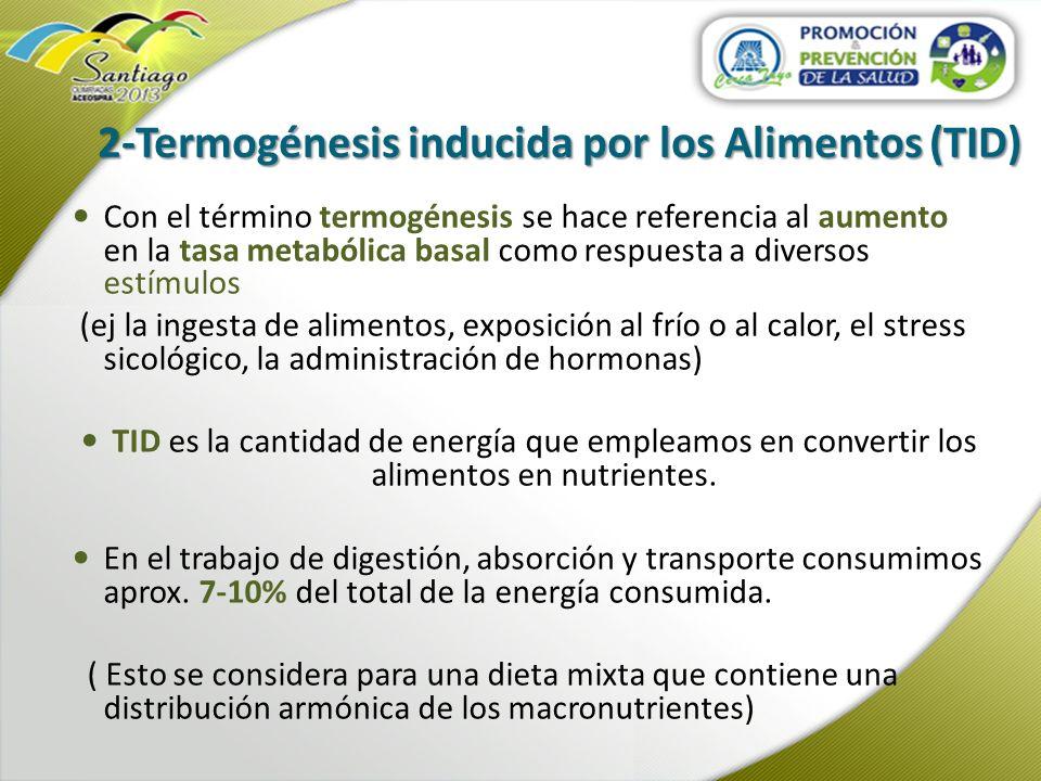 2-Termogénesis inducida por los Alimentos (TID) Con el término termogénesis se hace referencia al aumento en la tasa metabólica basal como respuesta a
