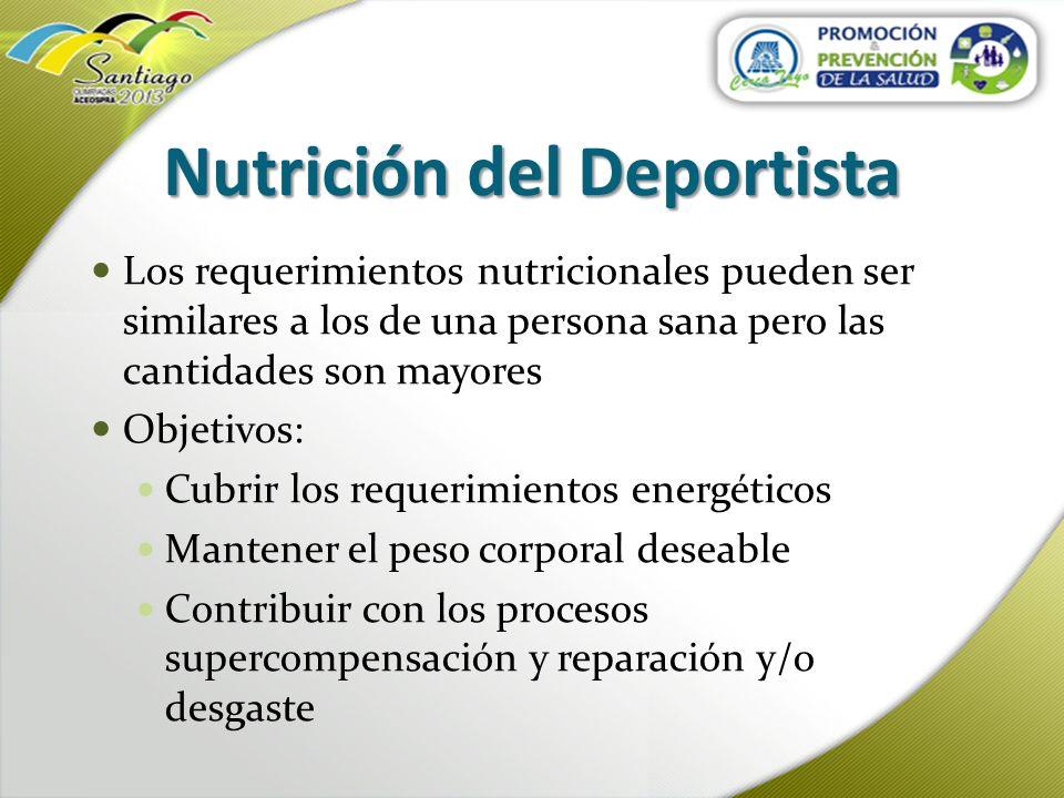 Nutrición del Deportista Los requerimientos nutricionales pueden ser similares a los de una persona sana pero las cantidades son mayores Objetivos: Cu