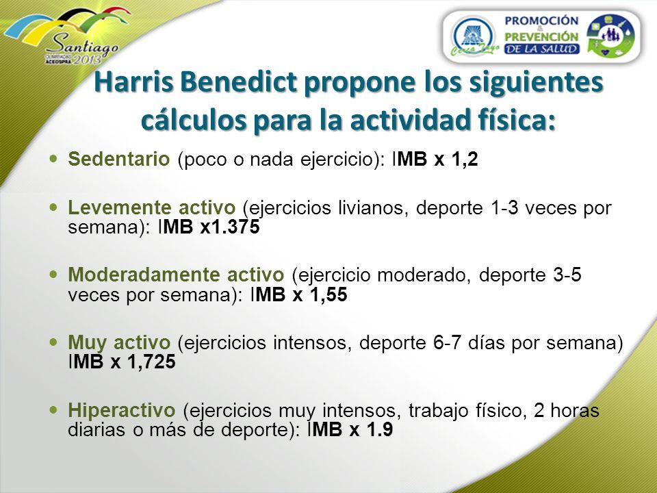 Harris Benedict propone los siguientes cálculos para la actividad física: Sedentario (poco o nada ejercicio): IMB x 1,2 Levemente activo (ejercicios l