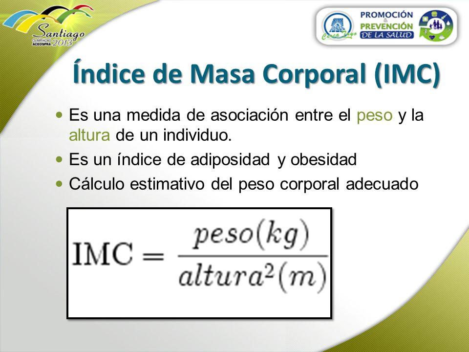 Índice de Masa Corporal (IMC) Es una medida de asociación entre el peso y la altura de un individuo. Es un índice de adiposidad y obesidad Cálculo est