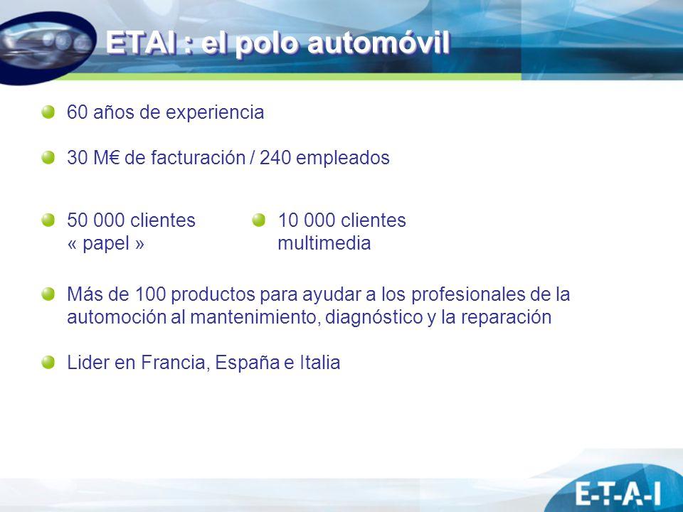 ETAI : el polo automóvil 60 años de experiencia 30 M de facturación / 240 empleados Más de 100 productos para ayudar a los profesionales de la automoc
