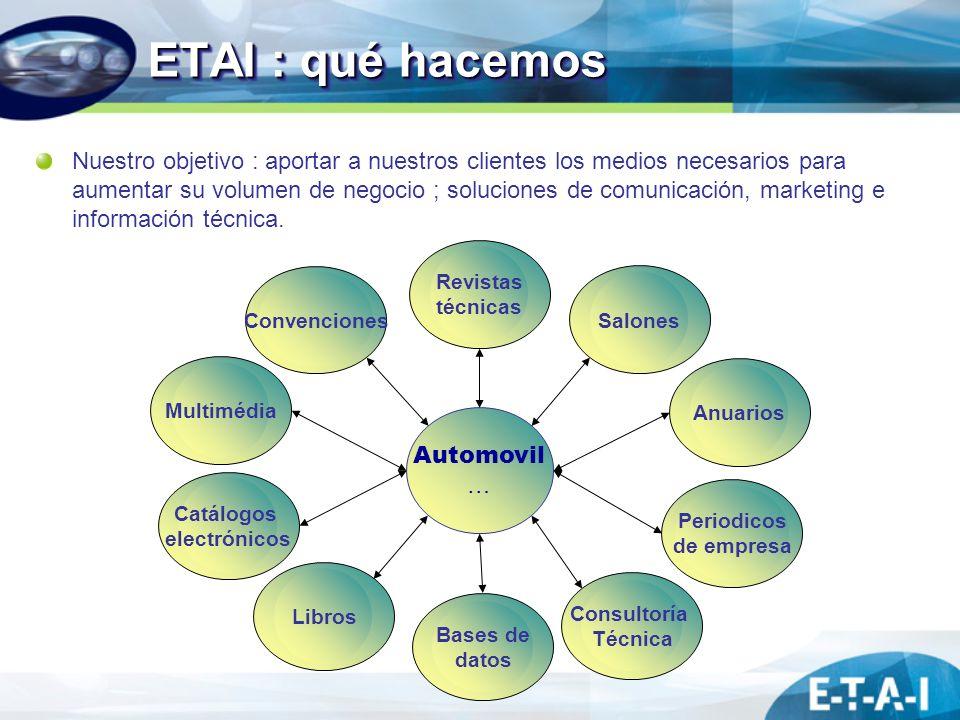 ETAI : qué hacemos Revistas técnicas Multimédia Libros Automovil … Anuarios Consultoría Técnica Convenciones Periodicos de empresa Bases de datos Catá
