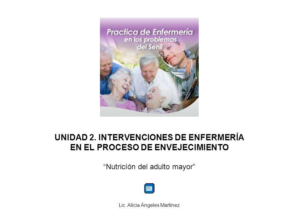 UNIDAD 2. INTERVENCIONES DE ENFERMERÍA EN EL PROCESO DE ENVEJECIMIENTO Nutricíón del adulto mayor Lic. Alicia Ángeles Martínez