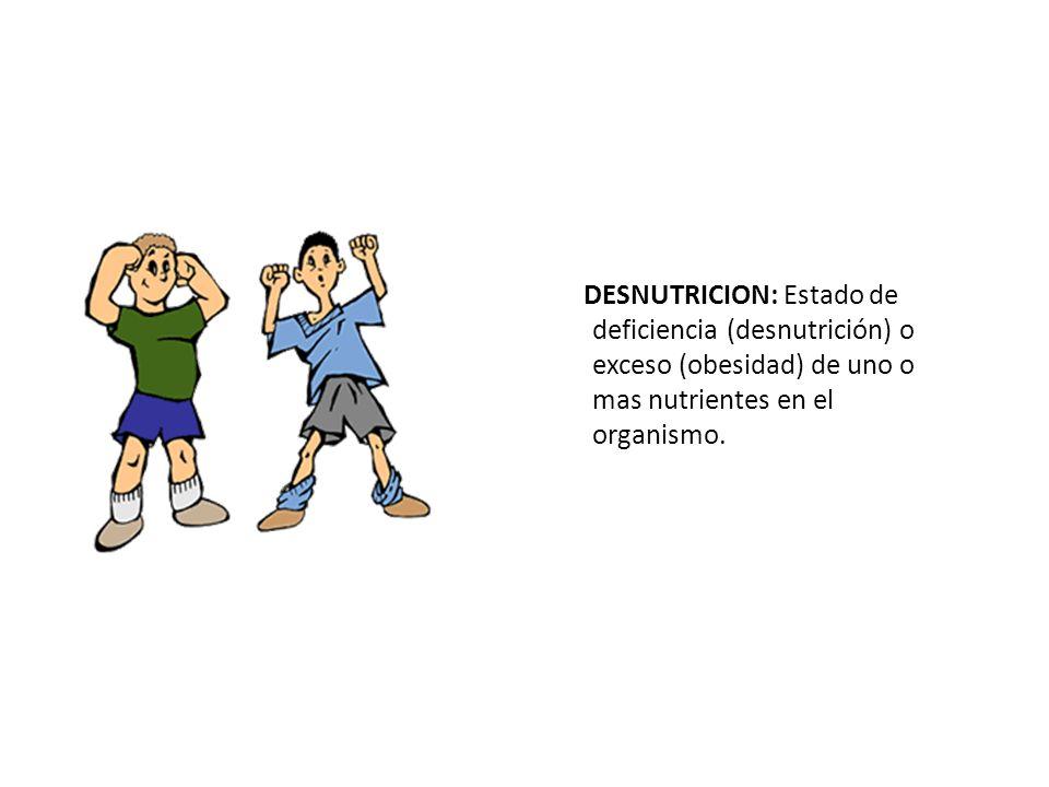 DESNUTRICION: Estado de deficiencia (desnutrición) o exceso (obesidad) de uno o mas nutrientes en el organismo.