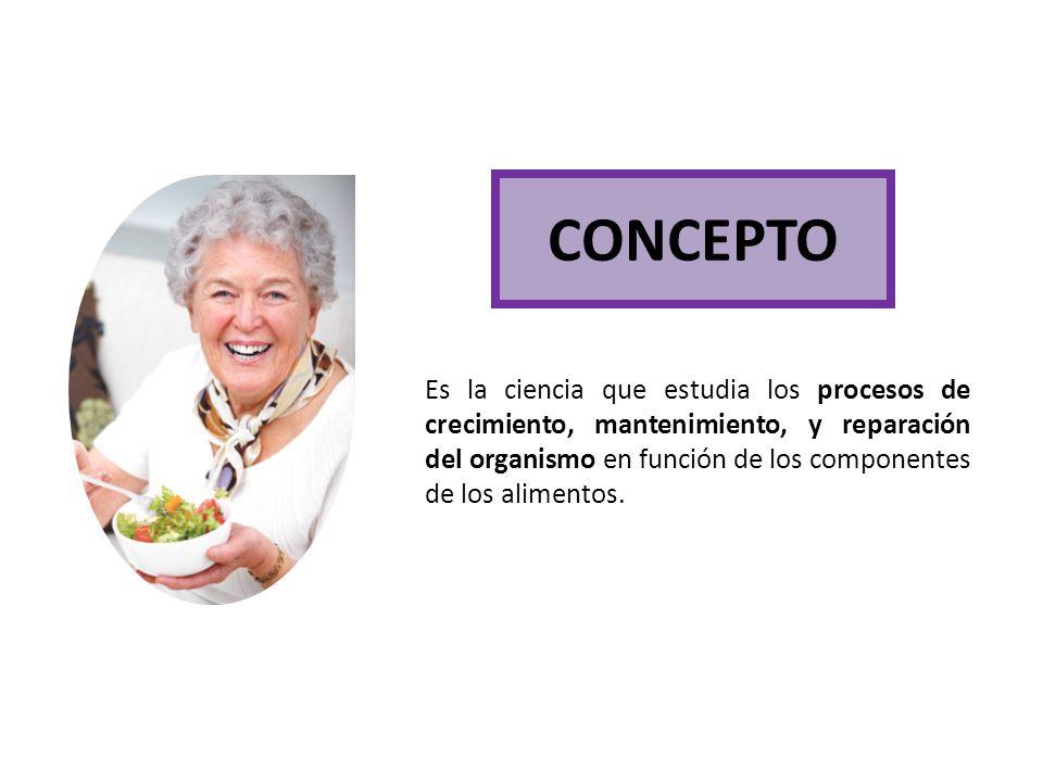 CONCEPTO Es la ciencia que estudia los procesos de crecimiento, mantenimiento, y reparación del organismo en función de los componentes de los aliment