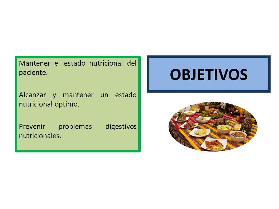 OBJETIVOS Mantener el estado nutricional del paciente. Alcanzar y mantener un estado nutricional óptimo. Prevenir problemas digestivos nutricionales.