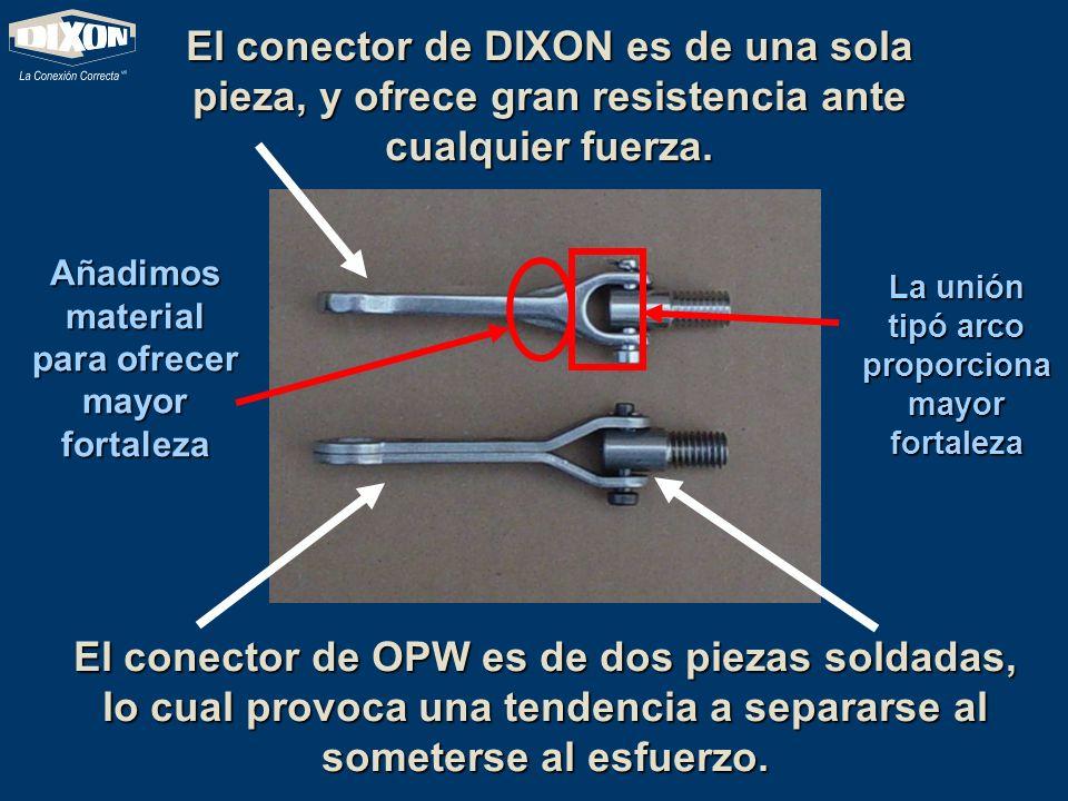 El conector de OPW es de dos piezas soldadas, lo cual provoca una tendencia a separarse al someterse al esfuerzo. El conector de DIXON es de una sola