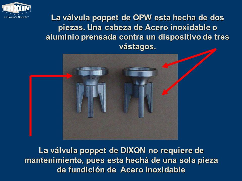 La válvula poppet de OPW esta hecha de dos piezas. Una cabeza de Acero inoxidable o aluminio prensada contra un dispositivo de tres vástagos. La válvu