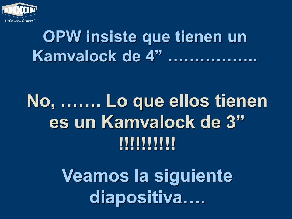 OPW insiste que tienen un Kamvalock de 4 …………….. No, ……. Lo que ellos tienen es un Kamvalock de 3 !!!!!!!!!! Veamos la siguiente diapositiva….