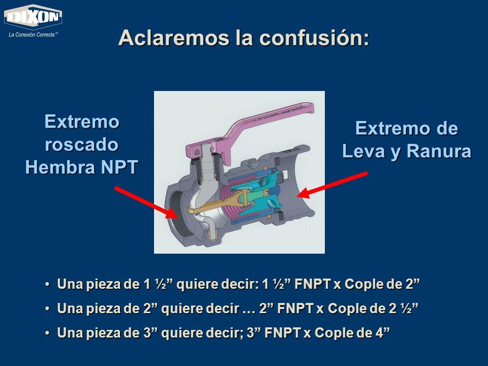 Aclaremos la confusión: Extremo roscado Hembra NPT Extremo de Leva y Ranura Una pieza de 1 ½ quiere decir: 1 ½ FNPT x Cople de 2 Una pieza de 2 quiere