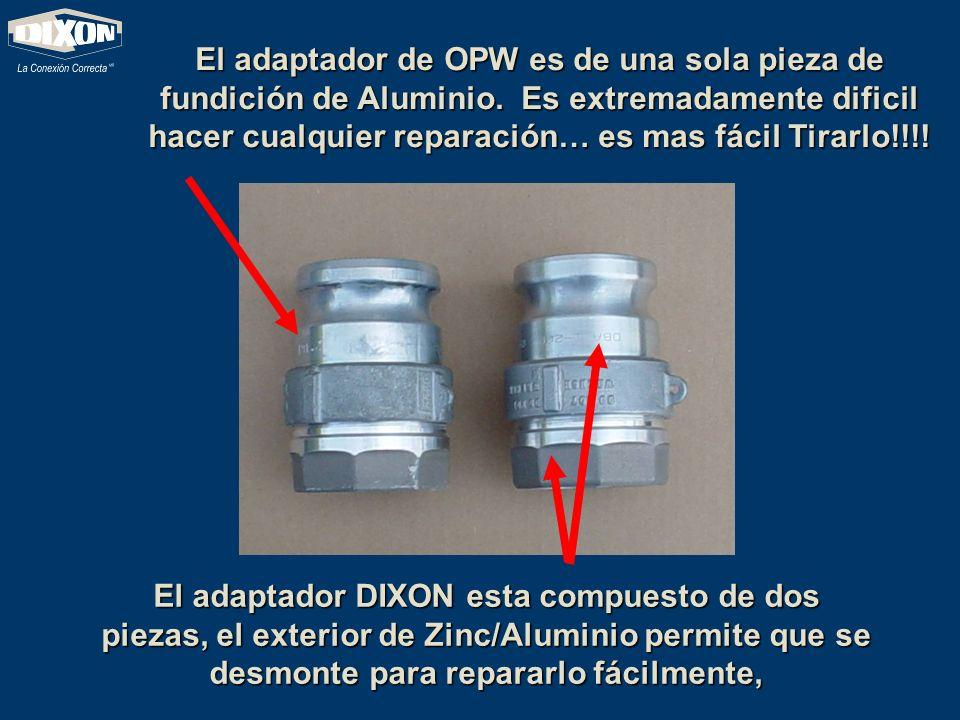 El adaptador de OPW es de una sola pieza de fundición de Aluminio. Es extremadamente dificil hacer cualquier reparación… es mas fácil Tirarlo!!!! El a