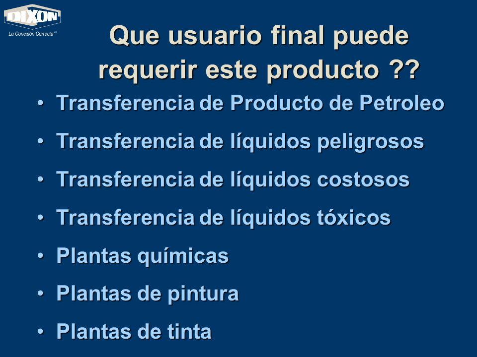 Que usuario final puede requerir este producto ?? Transferencia de Producto de Petroleo Transferencia de Producto de Petroleo Transferencia de líquido