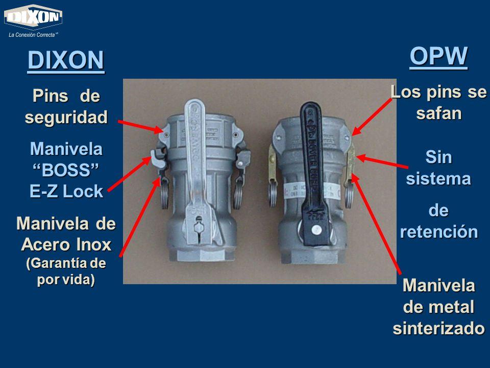 DIXON ofrece una Palanca de Acero Inoxidable (Resistente a químicos y al clima) La Palanca de OPW es muy susceptible a la corrosión